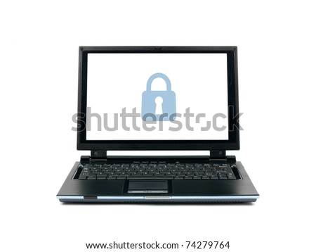 A laptop computer isolated against a white backgroun d - stock photo