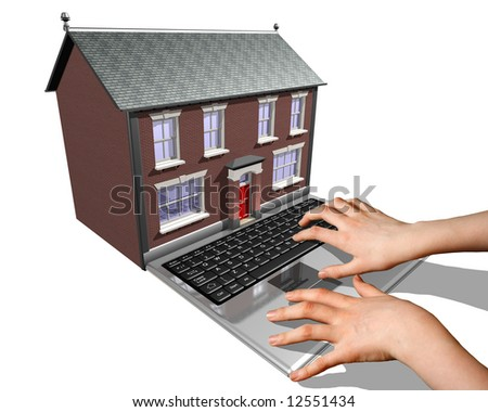 A laptop merged into a house representing the buying of a new home on the Internet. - stock photo