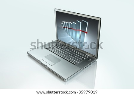 a laptop on a white background, with a grph on the screen