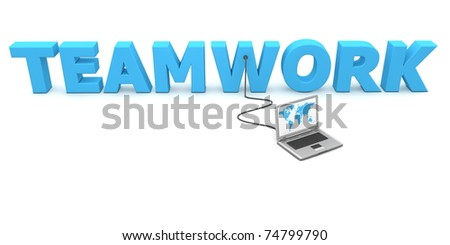 a laptop with a world map is connected to the 3D word TEAMWORK - stock photo