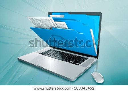 a laptop with folder on the screen - stock photo