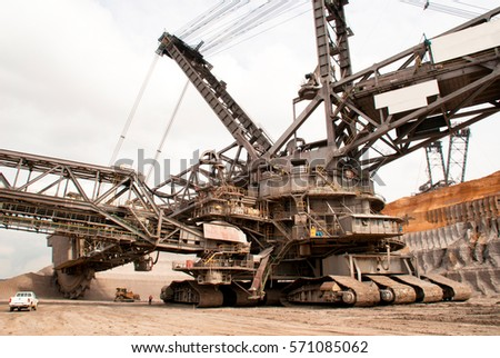 A large bucket wheel excavator in a lignite quarry, Germany