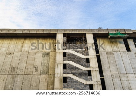 A large building construction site made from pattern of concrete walls - stock photo