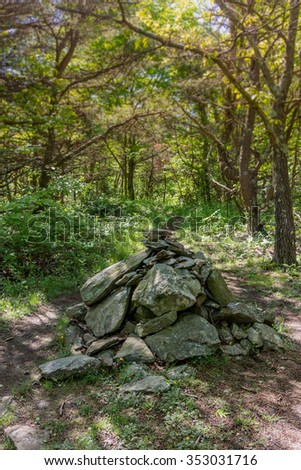 A large cairn at the peak of Calf Mountain along the Appalachian Trail in Shenandoah National Park - stock photo