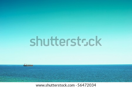 A large cargo ship at sea