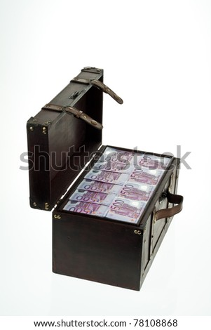 A large chest with Euro banknotes. Financial crisis, crisis, debt. - stock photo