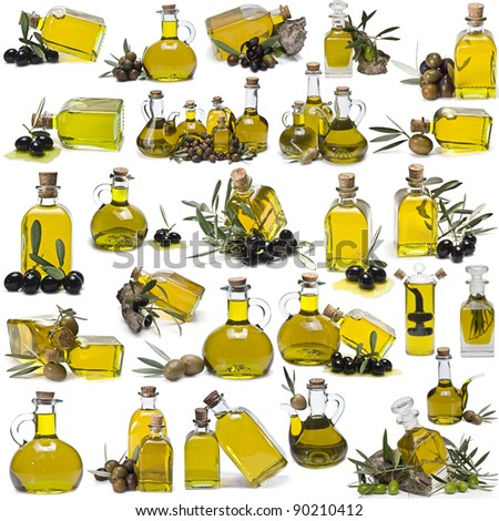 A large collection of olive oil bottles isolated on a white background.