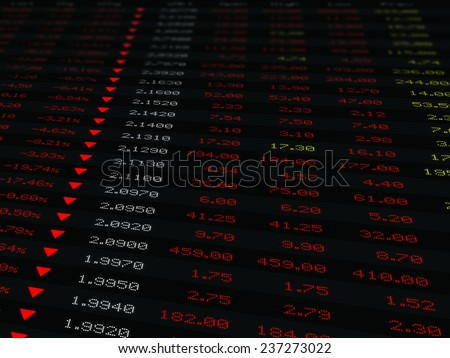 a large display of stock market price and quotation during economic downturn, bear market