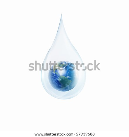A large drop of water with Earth inside on a white background. As a symbol of protection of the environment. - stock photo