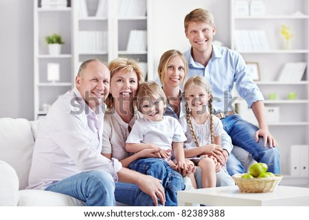 A large family with children at home - stock photo