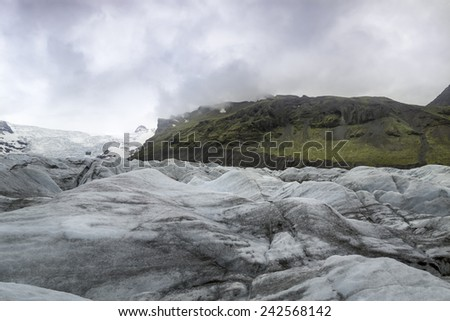 A large glacier tongue in Vatnajokull Skaftafell National Park, Iceland - stock photo