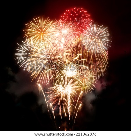 A large golden celebration fireworks display. - stock photo