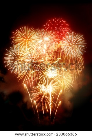 A large golden celebration fireworks display. - stock photo