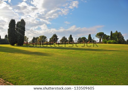 A large green meadow in the landscape park Sigurta. Northern Italy, the summer