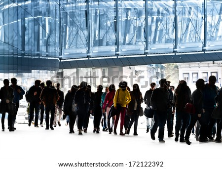 A large group of boys and girls. Queue. - stock photo