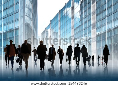 A large group of business people. Silhouettes. - stock photo