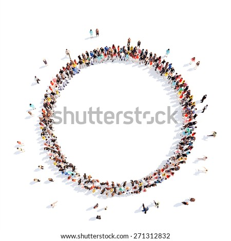 A large group of people in a circle of interest. Isolated, white background. - stock photo