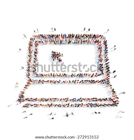 A large group of people in the form of a computer. Isolated, white background. - stock photo
