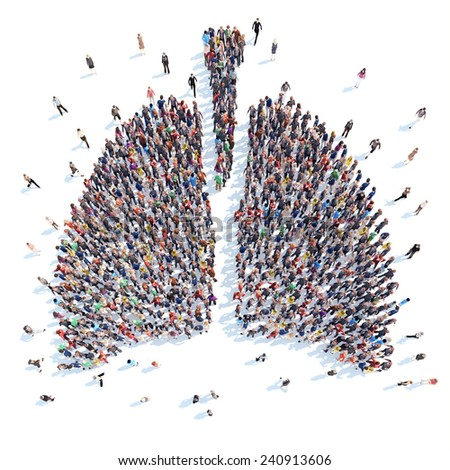 A large group of people in the form of a human lung medicine. Isolated, white background. - stock photo
