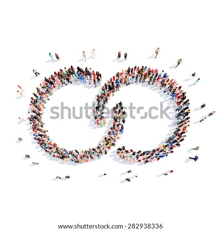 A large group of people in the shape of a chain. Isolated, white background. - stock photo