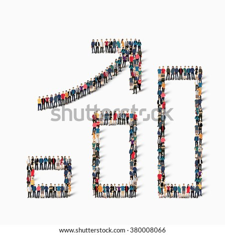 A large group of people in the shape of a graph. - stock photo