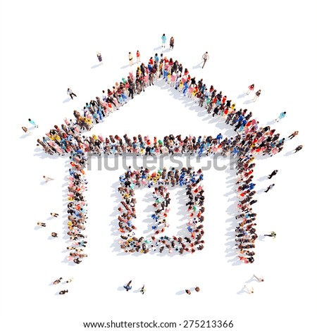 A large group of people in the shape of a house. White background. - stock photo