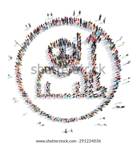 A large group of people in the shape of a man. Isolated, white background. - stock photo
