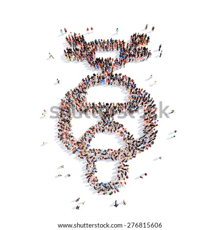 A large group of people in the shape of a motorcycle. Isolated, white background. - stock photo