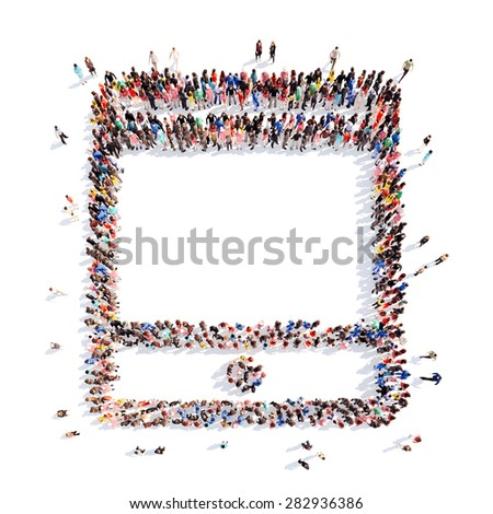 A large group of people in the shape of a tablet. Isolated, white background. - stock photo