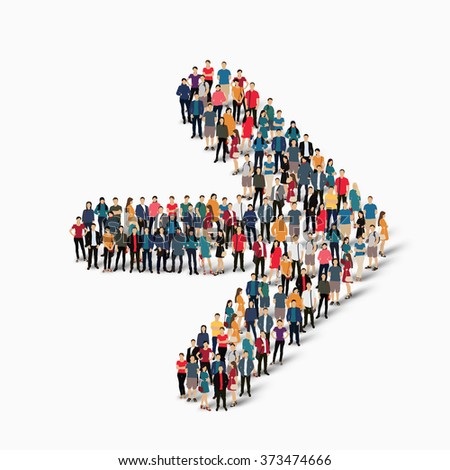 A large group of people in the shape of an arrow direction.  - stock photo
