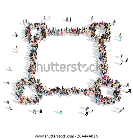 A large group of people in the shape of the frame. Isolated, white background. - stock photo