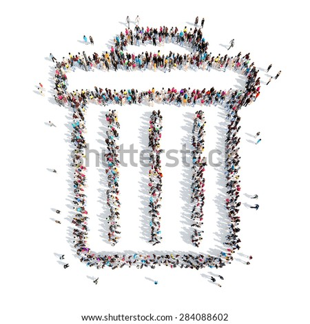 A large group of people in the shape of the trash. Isolated, white background. - stock photo