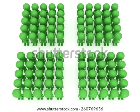 A large groups of people stand on white in box formation. Isolated 3d render. Teamwork, business, army concept. - stock photo