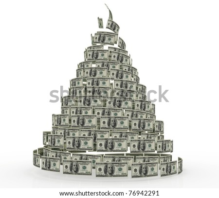a large heap 100 dollar banknotes - stock photo