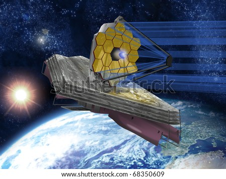 A large infrared space telescope with the Sun and Earth in the background. - stock photo