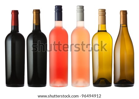 A large mix of wine bottles isolated on white with clipping path.