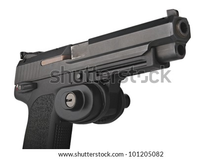 A large 9mm automatic pistol with trigger guard lock - stock photo