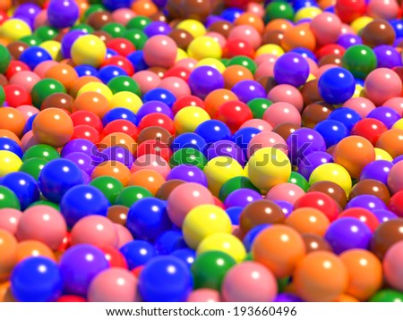 A large number of colorful glossy spheres with light reflecting
