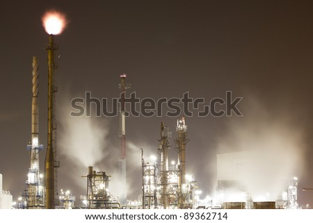 A large oil-refinery plant situated in the Botlek, Rotterdam, The Netherlands - stock photo