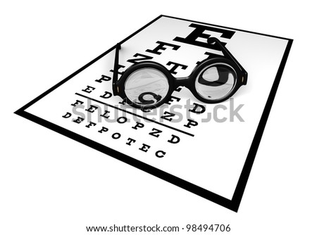 A large old style round glasses with very thick lenses on an eye chart - stock photo