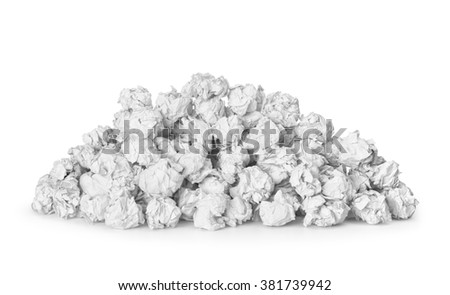 a large pile of crumpled paper isolated on white background. The concept of many incorrect ideas. - stock photo