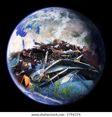 A large pile of garbage double exposed on the planet earth - eastern hemisphere - stock photo