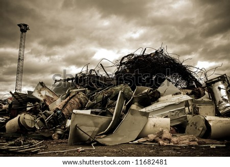 a large pile of metal chinks on a junkyard - stock photo