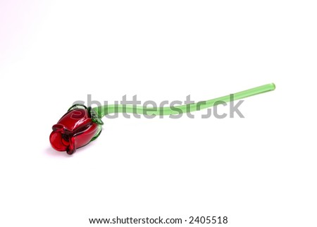 A large red glass rose isolated on a white background with room for text. - stock photo