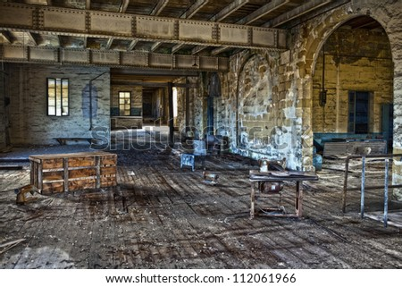A large room at Dock 1 in Senglea which used to house cheap labour Chinese workers making yacht sails - stock photo