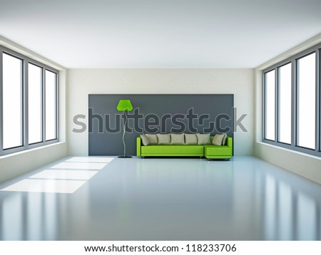 A large room with green sofa and a lamp
