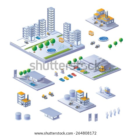 A large set of isometric buildings, home and transport.