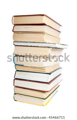 A large stack of old books. Isolated on a white background