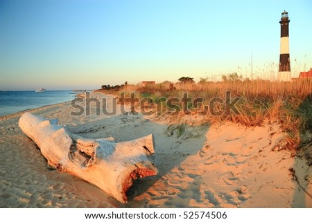 A large weathered driftwood log on the beach on Long Island Sound with the Fire Island Lighthouse behind in the late afternoon sun. - stock photo