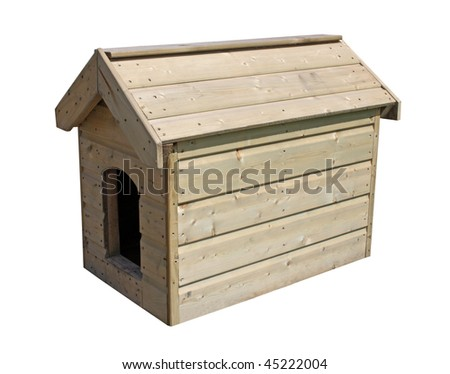 A Large Wooden Outdoor New Dog Kennel. - stock photo